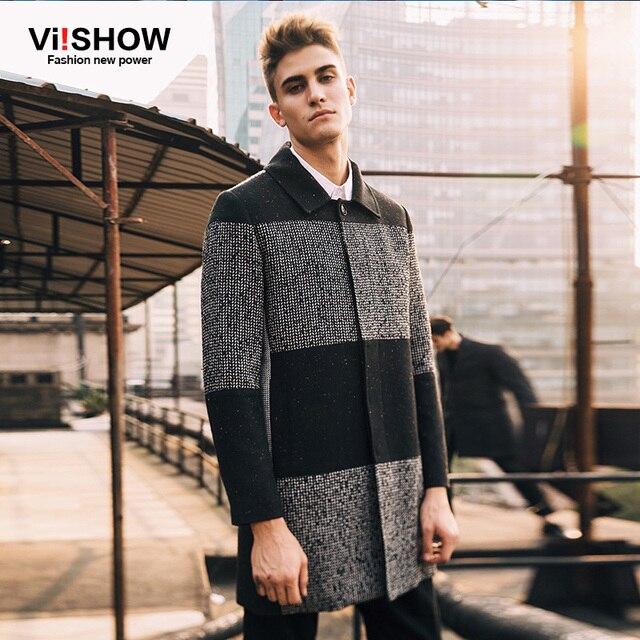 Viishow Модные мужские широкие-талия рассчитана куртка Горячая стильная шерстяная куртка Однобортный Тренч длинные пальто