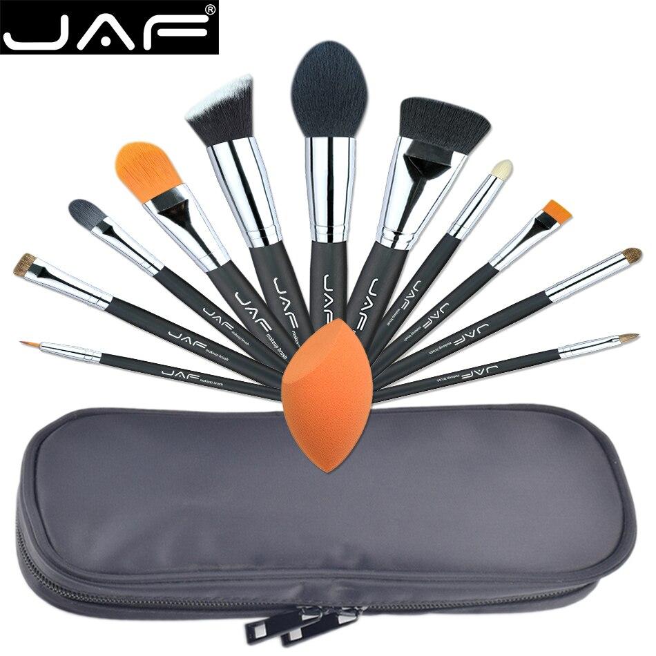 JAF Professionnel 12 PCS Maquillage Brosses et Outil Ensemble Unique Fuctions Cosmétique Teint Éponge Polyester Zipper Case J1209MYZ-B