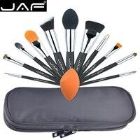 JAF Profesyonel 12 ADET Makyaj Fırçalar ve Aracı Set Benzersiz Fuctions Kozmetik Cilt Sünger Polyester Fermuar Durumda J1209MYZ-B