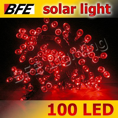 18m 100 LED Red Solar String Fairy Lights Thanksgiving Holiday Party Decoration New Year