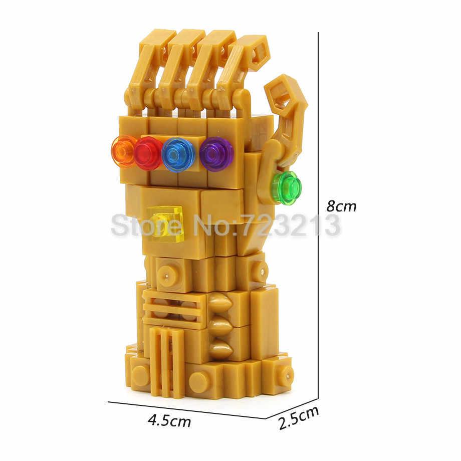 Pojedyncza nieskończoność wojna 8cm rękawica nieskończoności z 6 sztuk kamień Thanos Iron Man Avengers zestaw klocków cegły zabawki Feleph