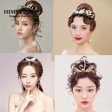 HIMSTORY New Baroque Bridal Tiara Swan Crown Wedding Hair Accessories Gorgeous Bride Princess Headwear Imitation Pearls Hairwear
