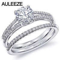 Классическое кольцо из белого золота 14 K 585, бриллиантовый солитер, свадебные наборы, обручальное кольцо 1CT, искусственный бриллиант, свадебн