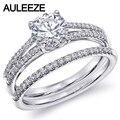 Clásico 14 K 585 Conjuntos de Novia Anillo de Compromiso de Oro Blanco Anillo De Diamantes Solitario 1CT Moissanites Laboratorio Crecido Diamond Wedding Sets