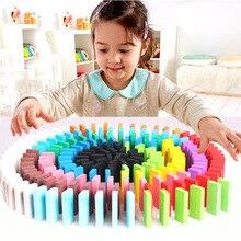 LWKO 120 шт./компл. детей 10/12 Цвет сортировать Радуга Дерево Domino блоки Дети раннего образования Деревянные игрушки подарки для детей