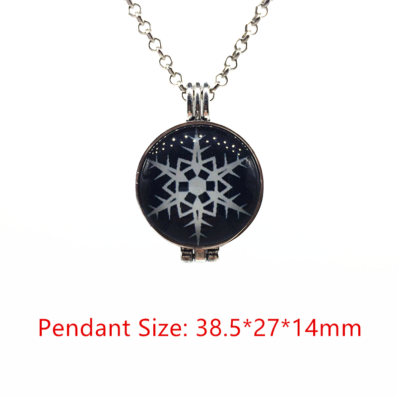 Snowflake aroma necklace stainless steel tone hollow heart cameo snowflake aroma necklace stainless steel tone hollow heart cameo essential oil diffuser cabochon locket pendant necklace gifts in pendant necklaces from aloadofball Images