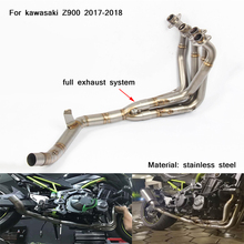 51mm Motorcycle Exhaust Muffle Pipe With Middle Section Stainless Steel Silencer System For kawasaki z900 2017-2018