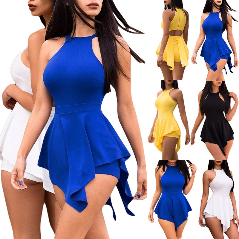 HTB1Qox1LsbpK1RjSZFyq6x qFXaX - Women Elegant Jumpsuits & Rompers Halter Irregular Sleeveless Slim Bodycon Overalls Cocktail Club Party Bodysuit