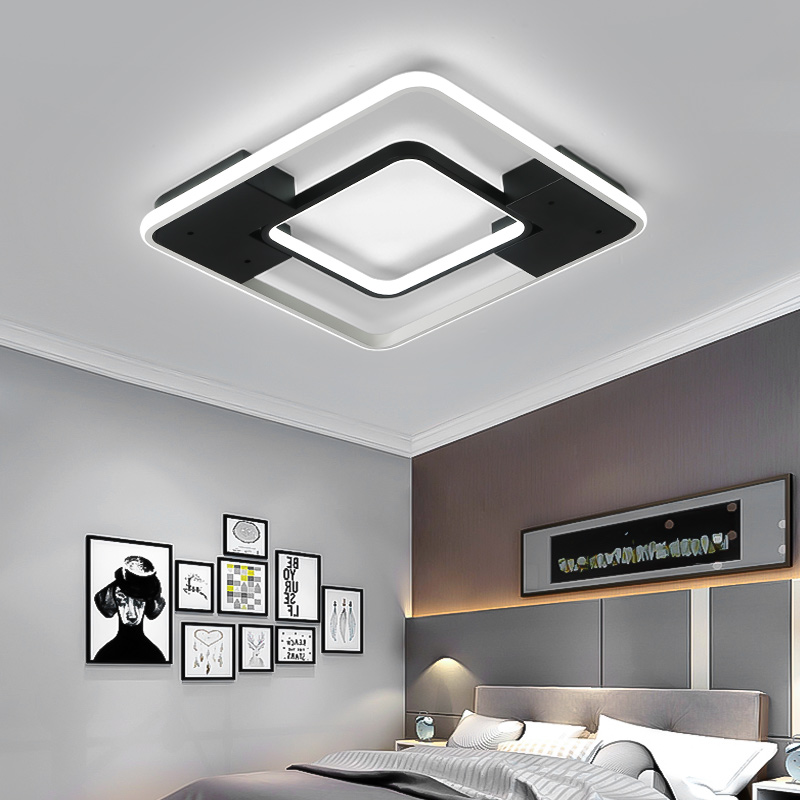 Black/white square modern minimalist led ceiling lights living room bedroom study balcony aluminum ceiling lamp free shippingBlack/white square modern minimalist led ceiling lights living room bedroom study balcony aluminum ceiling lamp free shipping