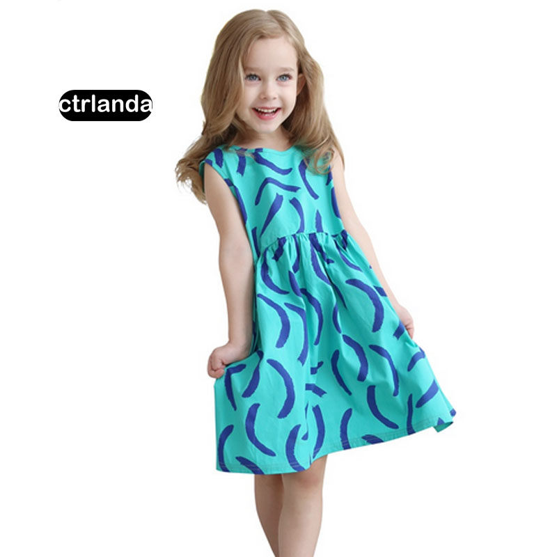 2017 children clothing little girl summer sleeveless dresses pattern