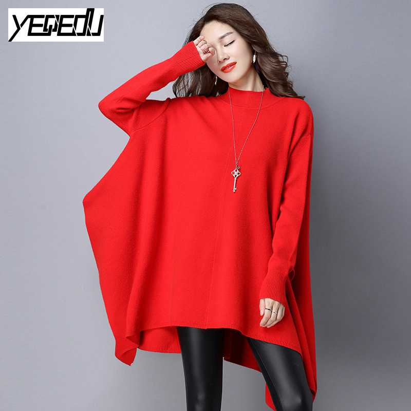 #2822 2018 Long Knitted sweater women Fashion Batwing sleeve Women sweaters and pullovers Knitwear Oversize Ponchos and capes