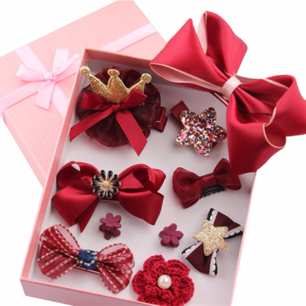 Hot Baby Girl Hair Accessories Hairpin Jewelry Birthday Gift With Box Female Treasure Suit Headdress 10 Pcs/Set New rose