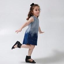 2016 Новый дизайн белый спрей рукавов хлопок колен летние прямые синий деним платье девушка одежда 4 5 6 8 9 10 11 12 лет