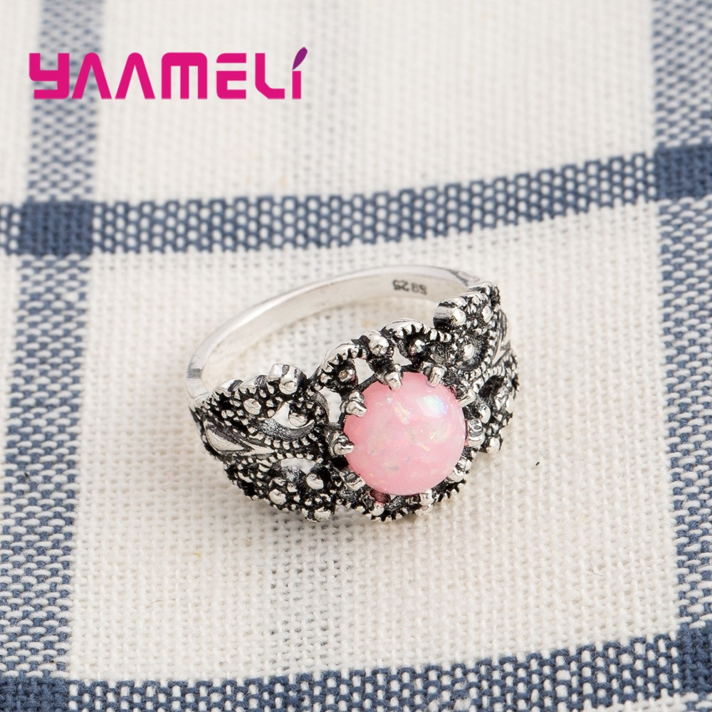 Beauty Retro Women Fashion Pink Opal Stone Rings 925 Sterling Silver Trendy Summer Style Bohemia Jewelry Ring For Sale