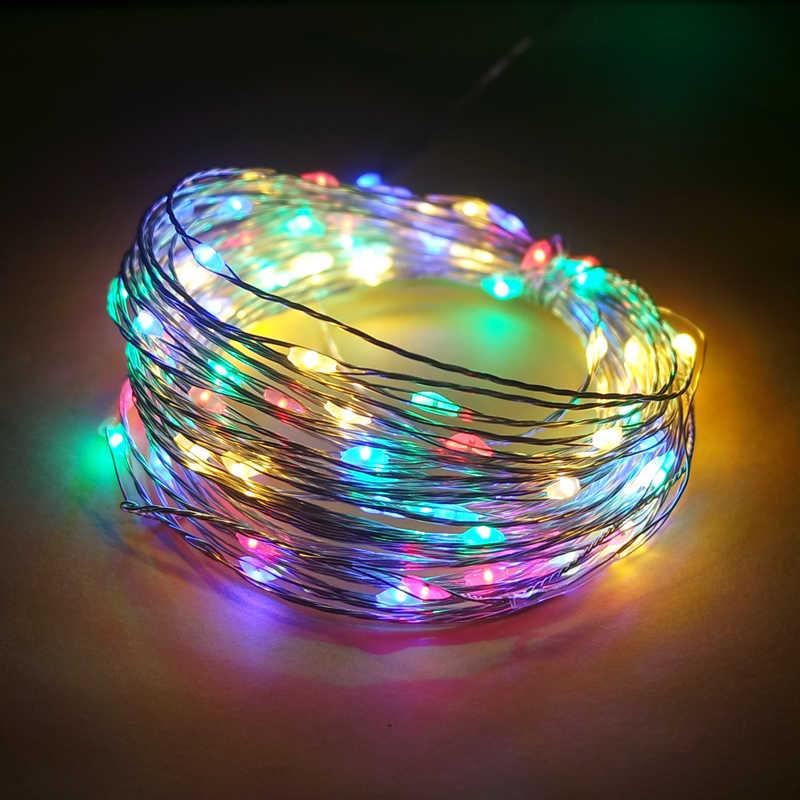 Светодиодный гирлянды 10 м 5 м 2 м серебро проволочная гирлянда домашняя Рождественская Свадебная вечеринка украшения питание от 5 V Батарея USB Фея свет