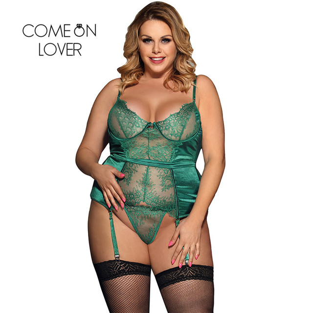Comeonlover Sexy Christmas Lingerie Plus Size Black Green Transparente Dessous Sexy Hot Erotic Sexy Lace Lingerie RI80535