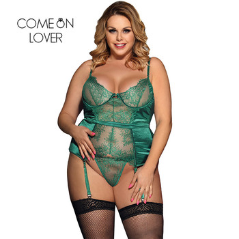 Comeonlover Sexy Weihnachten Dessous Babydoll Plus Größe Grün Transparente Dessous Sexy Hot Erotic Sexy Spitze Dessous RI80535