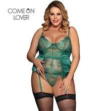 Comeonlover seksi yılbaşı Babydoll sıcak artı boyutu pijama yeşil Transparente Dessous erotik dikiş dantel iç çamaşırı RI80535