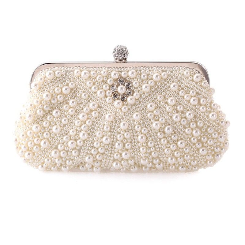 Fashion Women Evening Clutch Party Flap Wedding Bride Pearl Beading Crystal Handbag Shoulder Bag Shell Wallet Metal Chain Hasp