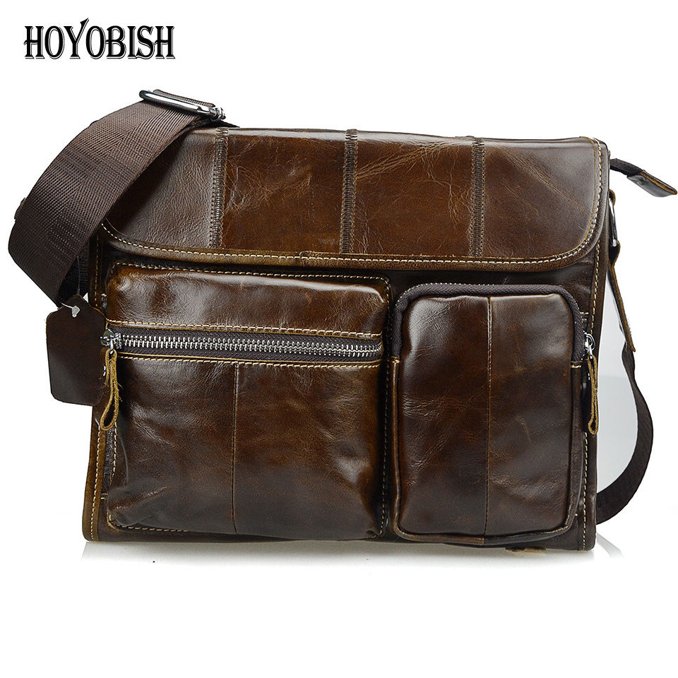 HOYOBISH Vintage Oil Genuine Leather High Quality Men Bags Brand Messenger Bag Men Leather 2017 Cross body Travel Handbags OH011