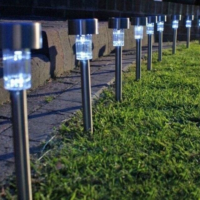 5pcs Led Solar Garden Light Stainless Steel Outdoor Lighting Outdoors Emergency Lanterns Lamp