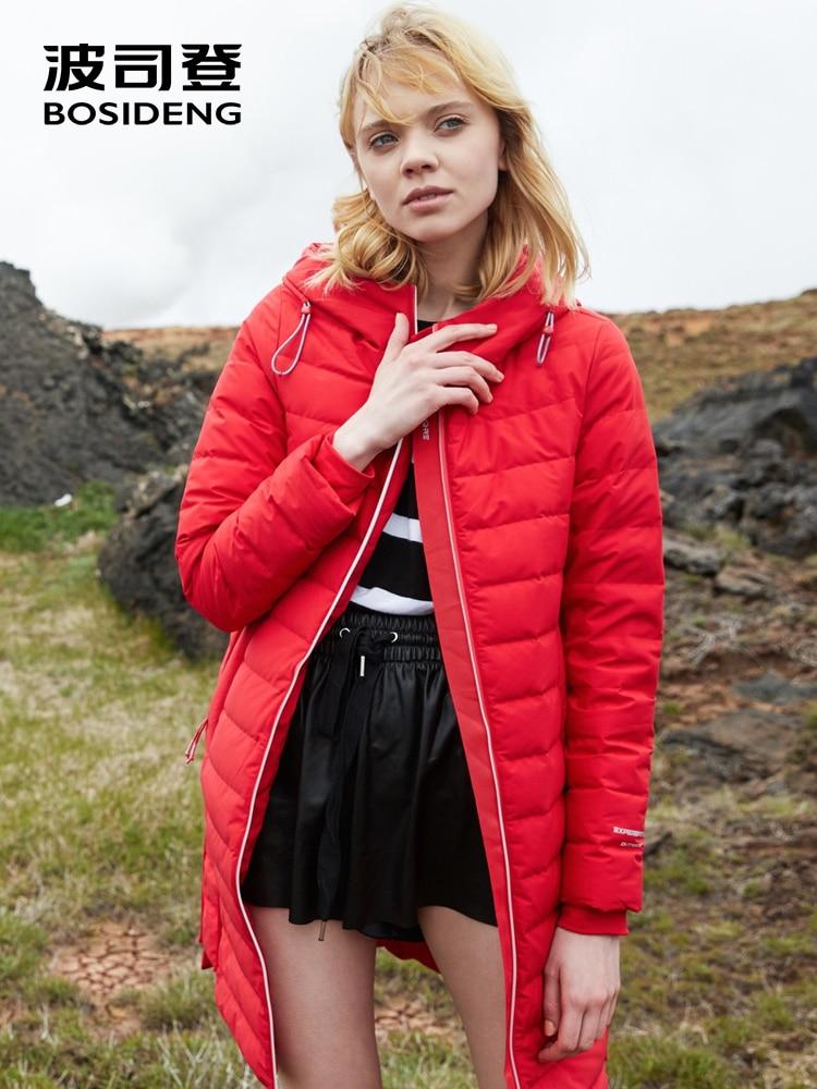BOSIDENG women down jacket winter down coat long parka hooded slim color high standard ultra light warm B80132028