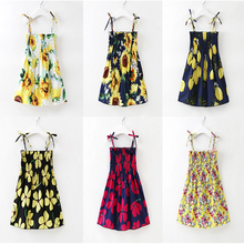 2018 New Fashion Kid Baby Princess Sunflower Dress Girls Sleeveless Flower Print Children Clothes Floral Backless Dresses цены