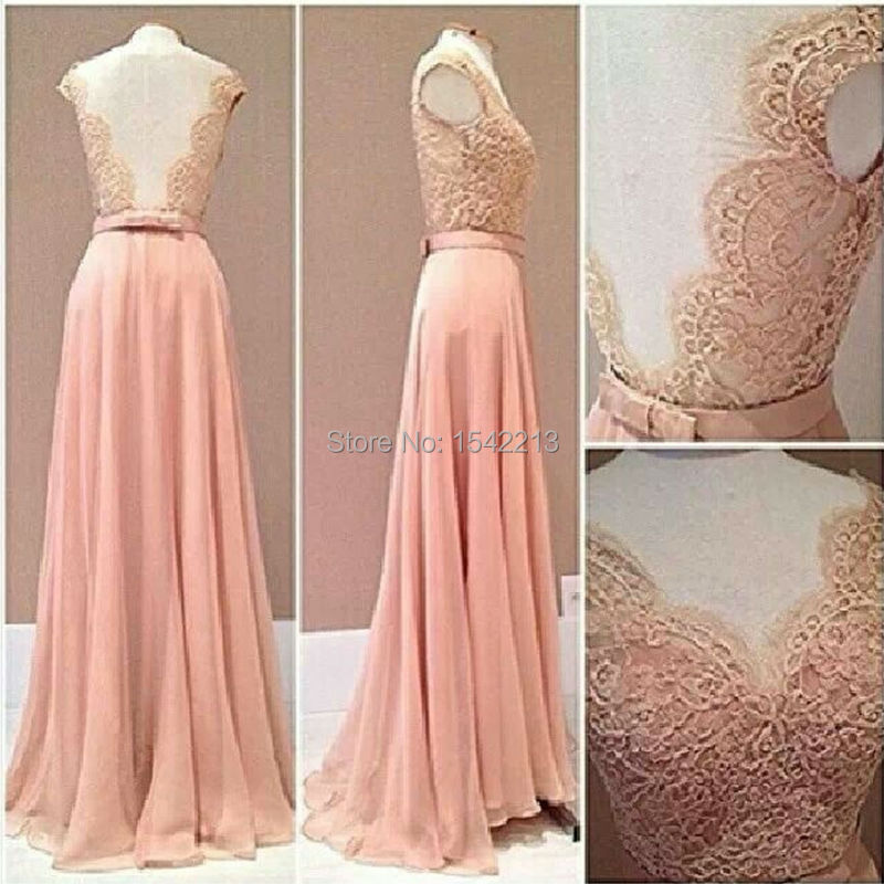 Custom Made Kant Rude Stijl Prom Dress Blush Roze Chiffon