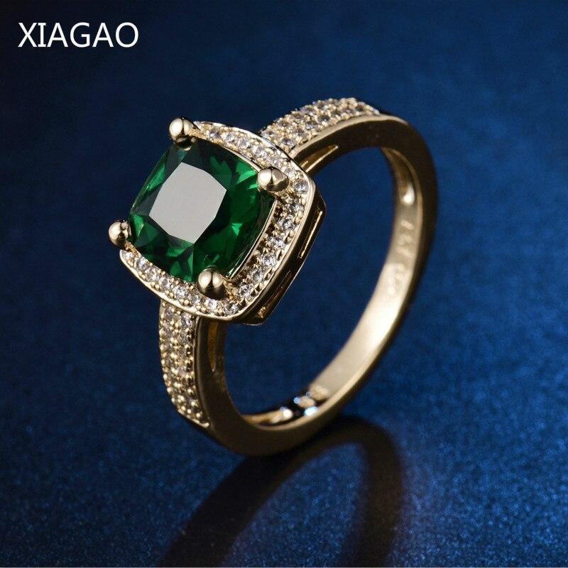 Verlobungsringe Gerade Xiagao Frauen Halo Zirkonia Verlobungsringe Für Frauen Gold-farbe Hochzeit Ringe Bijoux Bagues Anillos R346 Schmuck & Zubehör
