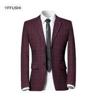 YFFUSHI Latest Design Men Suit Jacket Navy Grey Red Plaid Jacket Masculino Fashion Casual Style Coat