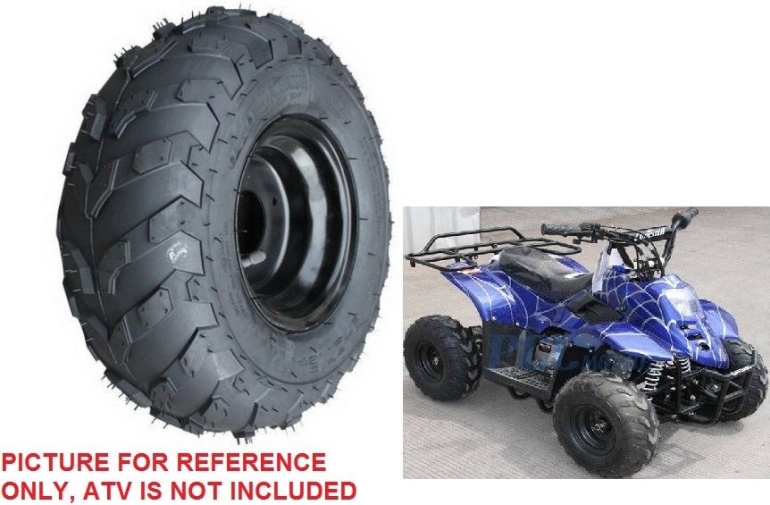 FOUR Tires 145//70-6 Go-Kart ATV Lawn Mini Bike Tires 145x70-6 Black Wheel Rims
