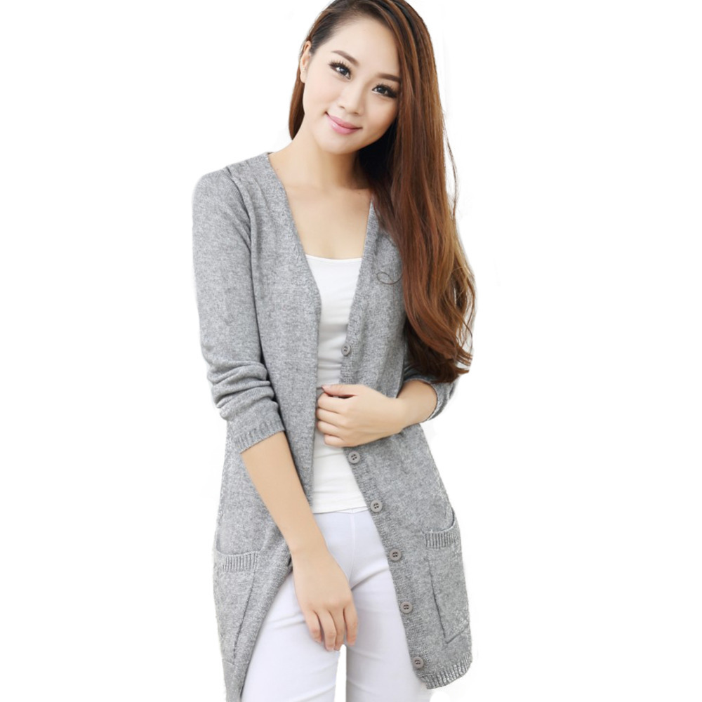 2015 Women's Long Cashmere Wool Cardigan Long Sleeve V neck Autumn ...