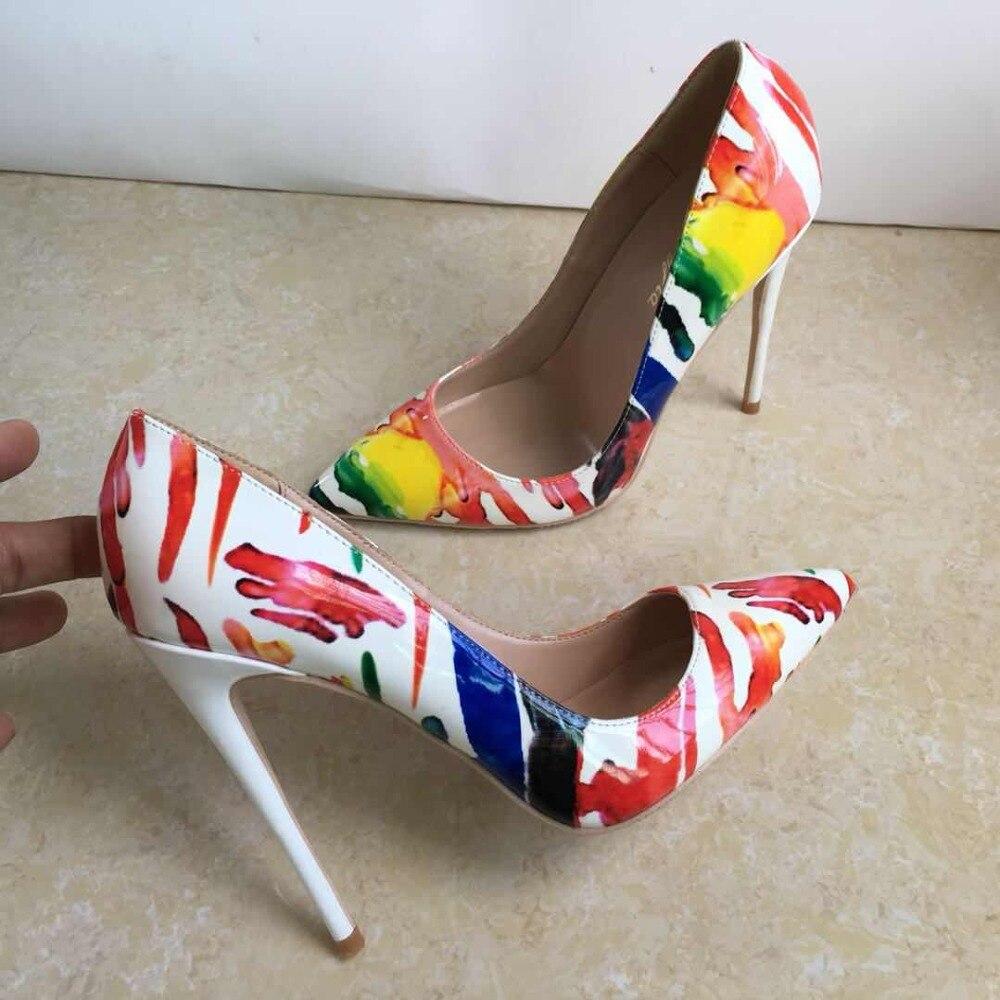 De 12 Graffiti Las Nuevo Boda Cm Rojo Tacones Sexy Altos 12cm Zapatos Mujeres Colorido Llegada Estilete wqag1Bf8n