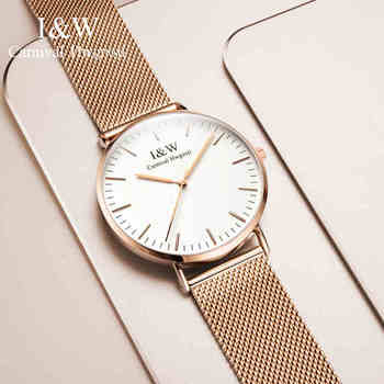Ultra-thin 6.6mm Dial 40mm Rose Gold Stainless Steel Mesh Band Men's Quartz Watch Business Simple Style Sapphire Mirror 2017
