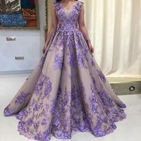 Нарядное платье лавандового цвета с v образным вырезом кружевные аппликационные Цветы Тюль в пол, Пурпурное кружевное вечернее платья