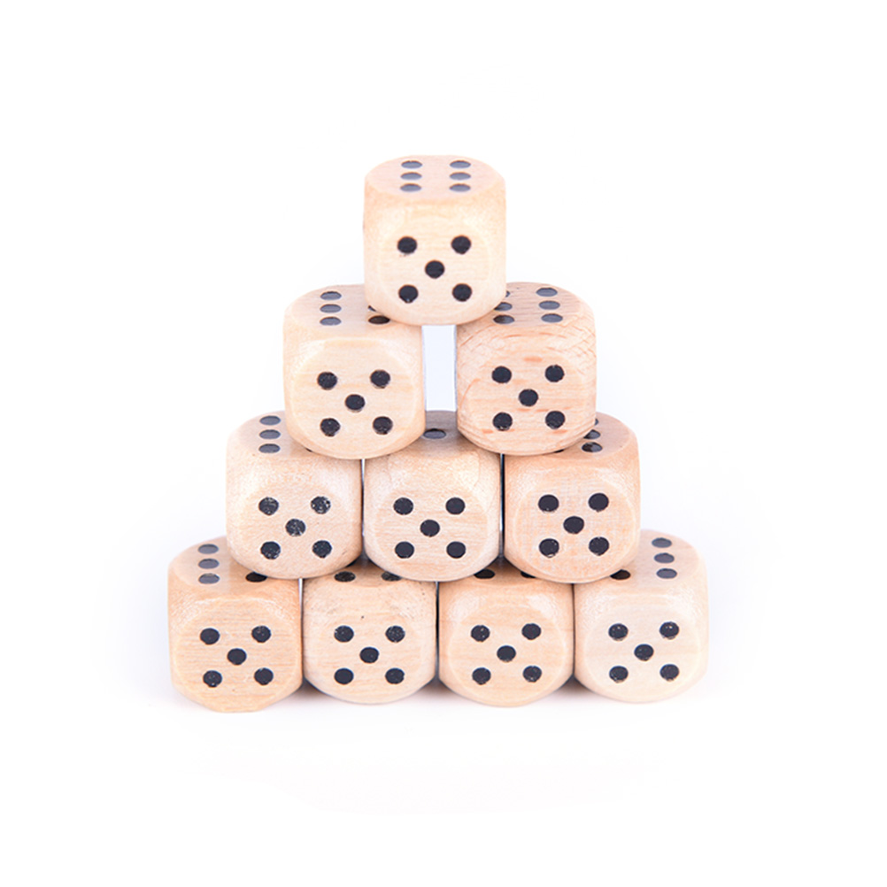 Julyhot 10Pcs/lot 6 Sided Dice Wood Dice Point Cubes Round Corner Kid Toys Game 12mm