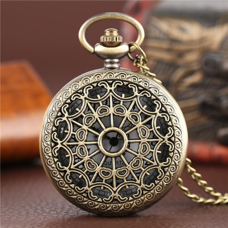 Bronze Antique Vintage Spider Web Hollow Pendant Necklace Quartz Pocket Watch Men Women Unique Sweater Necklace Steampunk Watch