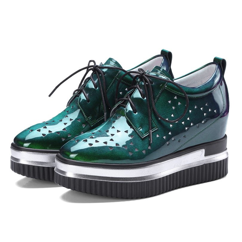 Hot Breathable Creepers Tennis Shoes Women Cow Leather Wedges High Heel Pumps Lace Up Summer Platform Oxfords Casual