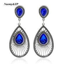 Naomy&ZP Brand Ethnic Long Flower Vintage Party Women Crystal Drop Earrings Blue Bohemian Big Earrings For Women Fashion Jewelry