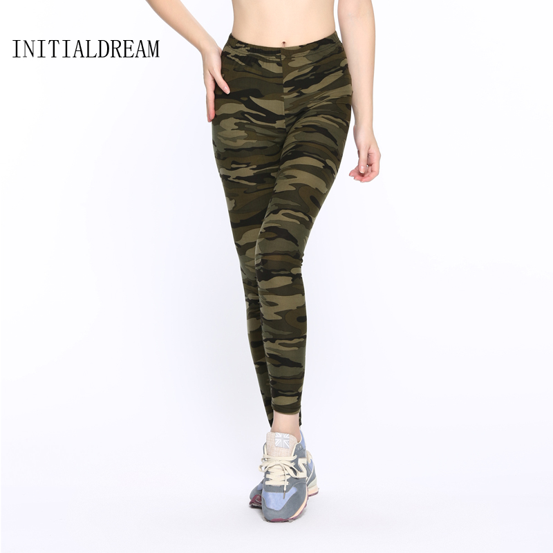 INITIALDREAM 2018 fashion fitness Camouflage women print leggings Trouser Army Pants Stretch Legins female leggins