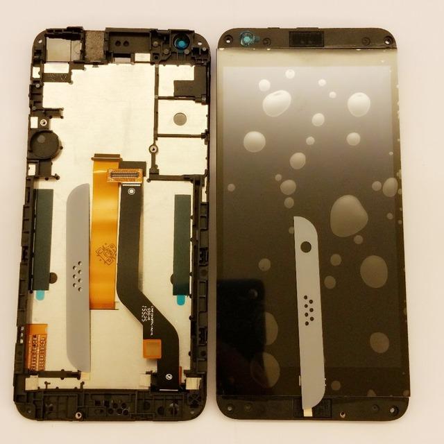 Cinza claro um cartão único dual sim card display lcd touch screen digitador + quadro para htc desire 530