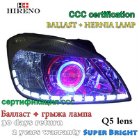 Hireno Modified Headlamp For Kia Rio 2006 2011 Headlight Assembly Car Styling Angel Lens Beam HID