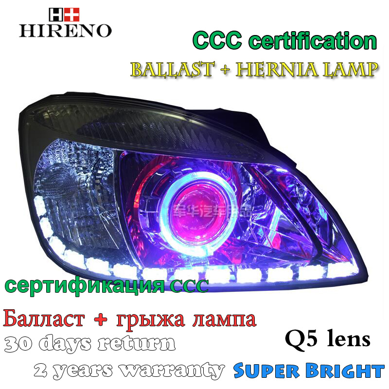 Hireno Modified Headlamp for Kia Rio 2006-2011 Headlight Assembly Car styling Angel Lens Beam HID Xenon 2 pcs headlight for kia k2 rio 2015 including angel eye demon eye drl turn light projector lens hid high low beam assembly