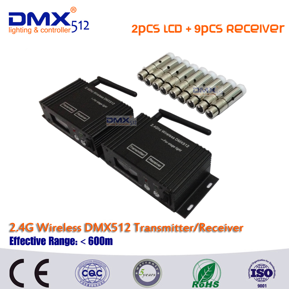 DHL Free shipping Wireless Portable 2.4G DMX512 Led Stage Light Controller LCD Transmitter Receiver with Antenna accessories