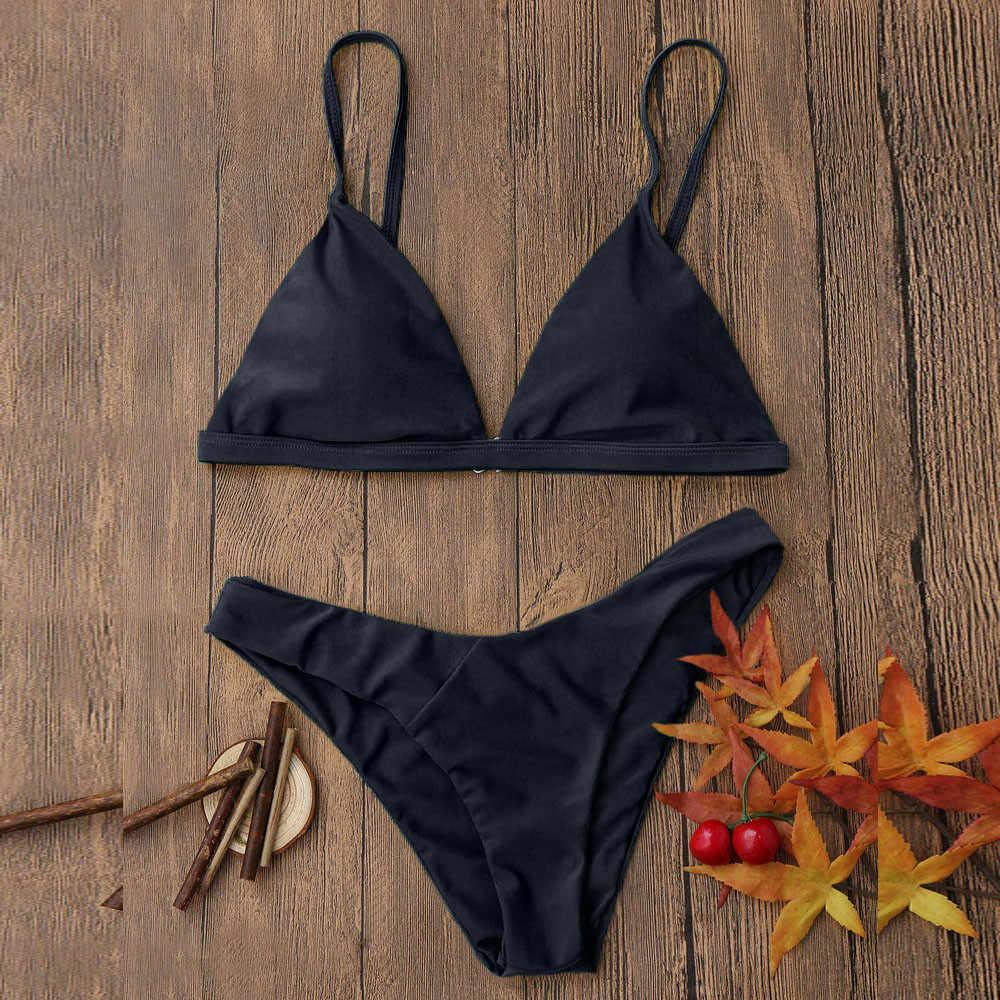 נשים בגדי ים שחור ביקיני 2019 סקסי ביקיני Push Up מוצק רחצה חליפת נשים וחוף בריכת חליפת נשים ביקיני 2019 Mujer