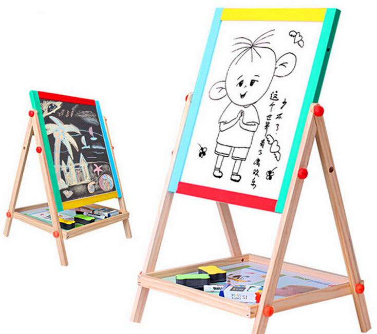 65cm Children wooden drawing board/ adjustable height magnetic 2 sides whiteboard blackboard for Kids Child educational toys