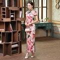 Noble Women's Long Cheongsam Hot Sale Traditional China Lady Silk Qipao Dress Flower Vestido Size S M L XL XXL CZ0004