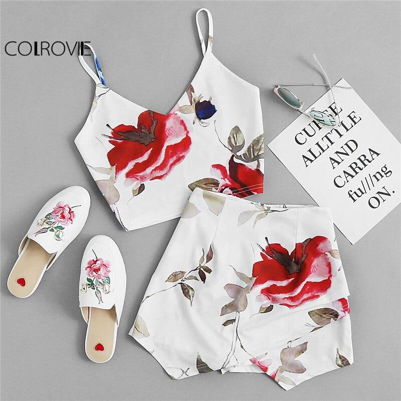 COLROVIE Florals Print Crop Cami Top With Overlap Skirt Women V neck Sleeveless Zipper Boho Twopiece 2018 Sexy 2 Piece Set
