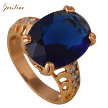 Deep Blue Cubic Zirconia female Party ring gold blue rings for women gift fashion jewelry size 6 7 8 9 10 R566(China)