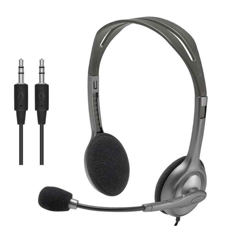 Logitech H110 H111 Stereo Headset With Microphone 3 5mm Wired Headphones Headsets For Gamer Gaming Music Calling Aliexpress
